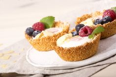 Košíčky s ovocem, plněné jogurtem