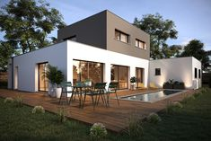 Beautiful project of a house cubic flat-roofed. Degree in spacious. Degree in modern it has it all. Dream House Exterior, Exterior House Colors, Exterior Doors, Home Building Design, Building A House, Luxury Homes Dream Houses, Garden Buildings, Flat Roof, Architecture Plan