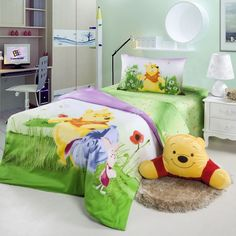 Watercolor Winnie The Pooh Green Disney Bedding Bedding Sets, Bedding Decor, Disney Bedding, Queen Size Quilt, Quilt Cover, Winnie The Pooh, Bean Bag Chair, Comforters, Pillow Cases