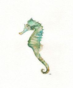 Seahorse/ watercolor print/teal/light green/aqua/tan/sea/ocean life/ Archival Print