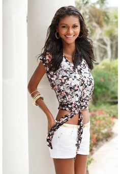 SHEER FLORAL LACE TIE FRONT TOP = LOVE