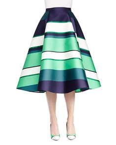 W081Y Lanvin Striped Satin A-Line Midi Skirt Lanvin satin blouse. Crew neckline. Short sleeves. Button back with keyhole. Relaxed silhouette. Viscose/acetate.