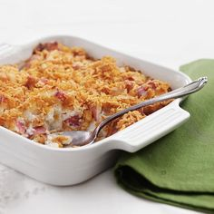 This cheesy potato casserole is perfect for Christmas morning! Made with Greek yogurt, it only has 236 calories per serving! http://qoo.ly/k5aus