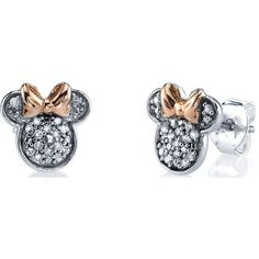 Disney Two Tone Sterling Silver 1/10 ctw Diamond Minnie Mouse Post... ($136) ❤ liked on Polyvore featuring jewelry, earrings, sterling silver diamond jewelry, disney jewellery, diamond jewellery, disney earrings and diamond earring jewelry