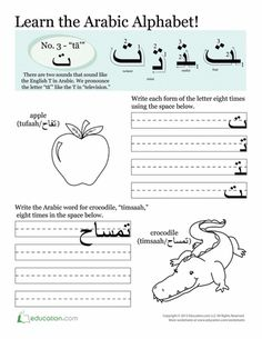 Worksheets: Arabic Alphabet: Tā'