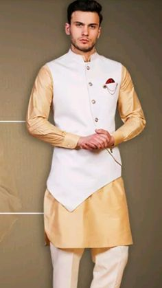 yellow and white qurta with jacket Nehru Jacket For Men, Waistcoat Men, Nehru Jackets, Indian Men Fashion, Mens Fashion Wear, Suit Fashion, Mens Sherwani, Kurta Men, Sherwani Groom