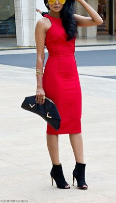 Beautiful flattering red dress with aviator glasses