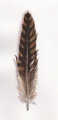 Qriginal Aquarell  Vogelfeder