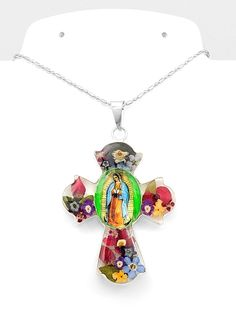 Sterling Silver Natural Flowers Virgin of Guadalupe Cross Pendant Taxco Mexico #HandMade #VirginofGuadalupe