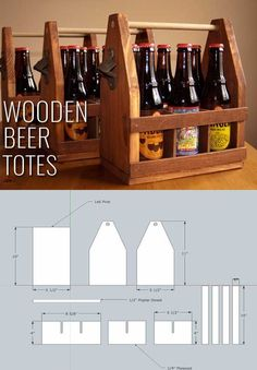 Awesome Crafts for Men and Manly DIY Project Ideas Guys Love - Fun Gifts, Manly Decor, Games and Gear. Tutorials for Creative Projects to Make This Weekend | Wooden Beer Totes | http://diyjoy.com/diy-projects-for-men-crafts