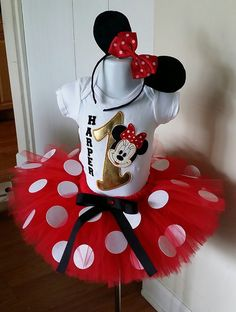 Hey, I found this really awesome Etsy listing at https://www.etsy.com/listing/235405386/red-and-gold-minnie-mouse-tutu-set