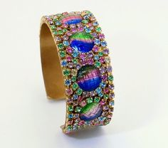Watermelon Rhinestone Cuff Bracelet loaded with sparkle - Pastel pink, blue, green, yellow and vintage iris art glass - Fruit Salad Style