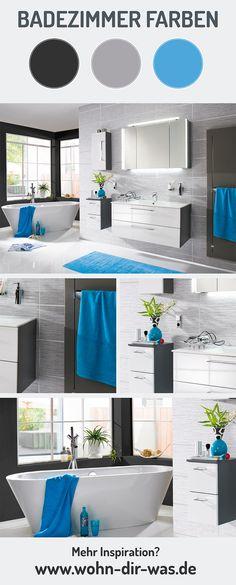 Blau, Schwarz, Weiß Und Grau. Ein Farbschema Fürs Badezimmer Welches Sowohl  Elegant Als