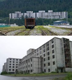 Whittier, Alaska: The Buckner Building was once the largest building in all of Alaska and housed virtually the entire population of the area. In the 1960s an earthquake rendered it unsafe to occupy and it has been abandoned ever since. http://weburbanist.com/2008/03/18/7-more-abandoned-wonders-of-america-from-deserted-breweries-to-famous-factories/