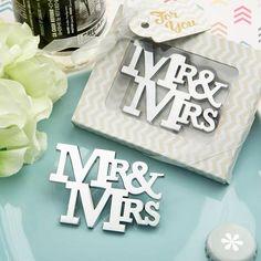Mr. & Mrs. Silver Bottle Opener Favor
