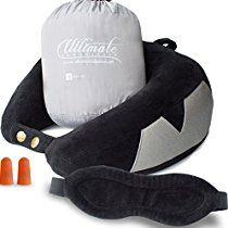 Travel Pillow Best Neck Pillow for Airplane, Includes Sleep Mask Carry Bag and Earplugs, Luxury Adjustable Memory Foam, for Deep Relaxation, Car Home TV