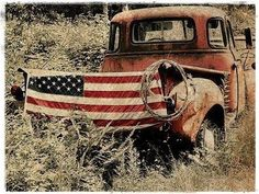 Old truck with flag