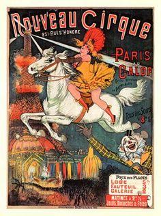 Shop Nouveau Cirque Revuew Hippique Retro Theater Postcard created by photochrom. Vintage Circus Posters, Carnival Posters, Vintage Travel Posters, Carnival Themes, Retro Posters, Vintage Carnival, Art Posters, Vintage Films, Vintage Ads
