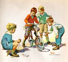 """""""The Birthday Bike - For A Good Boy"""" (Date unknown), by American artist and illustrator - Frances Tipton Hunter (1896-1957), Watercolor, Dimensions unknown, Owner/Location unknown."""