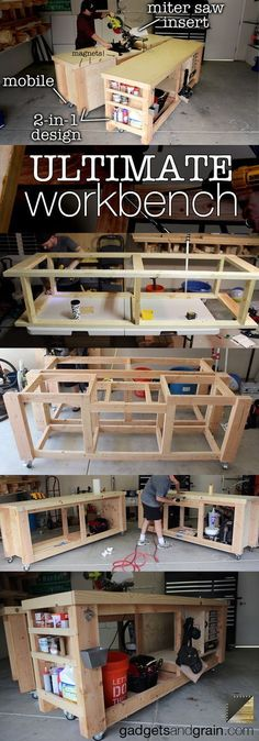 DIY Mobile & Modular Workbench To Bring Your Shop to the Nex.- DIY Mobile & Modular Workbench To Bring Your Shop to the Next Level DIY Mobile & Modular Workbench To Bring Your Shop to the Next Level - Workbench Plans Diy, Workbench Designs, Mobile Workbench, Woodworking Bench Plans, Woodworking Shop, Woodworking Projects, Workbench Top, Woodworking Classes, Folding Workbench