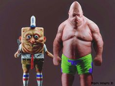 character artist Miguel Vasquez created an awesome, real life version of SpongeBob SquarePants and Patrick from the animated television series Cartoon Cartoon, Cartoon Characters, Horror Cartoon, Patrick Spongebob, Creepy, Scary, Realistic Cartoons, Favorite Cartoon Character, Best Friends Forever