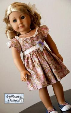 Pixie Faire Dollhouse Designs Juliette Party Dress Doll Clothes Pattern Designed to Fit Dolls such as American Girl® - PDF American Girl Dress, American Doll Clothes, Ag Doll Clothes, Clothes Crafts, Doll Clothes Patterns, Clothing Patterns, Doll Patterns, American Girls, Dress Patterns