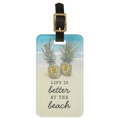 Beach Destination Tropical Pineapple Bag Attention Luggage Tag -  Spot your travel bag with this beach monogram travel luggage tag, perfect for your summer vacation trips.   ... #custom #beach themed #gift #aif  luggagetag design by #special_stationery - #aif  #luggagetag #trendysuitcase #travelling #travel #beachdestination #tropical #pineapple #monogram #summervacation #holiday #backpacker #personaldetails #name #telephone #number #details #iflost #standout #gift #backpacker #hiking…