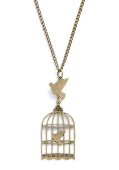 Free and Dear Darlings Necklace ...Have I mentioned before how very much I love birdcages? I love birdcages. I would live in a giant birdcage if I could. Have a little rounded couch on one side, a round bed that looks like a nest in the center of the room (Ooh! With little pillows that look like speckled eggs!), a twig chandelier...That would be really cute! Oh! And I love this necklace. Heehee! ;D