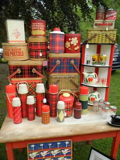 Thermos and picnic baskets