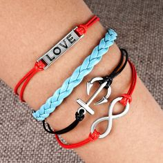 Nautical Anchor Sideways Infinity Bracelets Love Color Braided Leather Rope Bangle Bracelet Pugster.com
