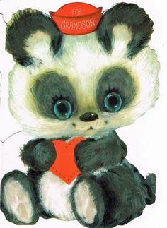 Panda Bear Grandson Vintage Valentine Card Ambassador    eBay