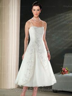 A-line Spaghetti Straps Organza Crystal Lace White Tea-length Wedding Dress at Millybridal.com