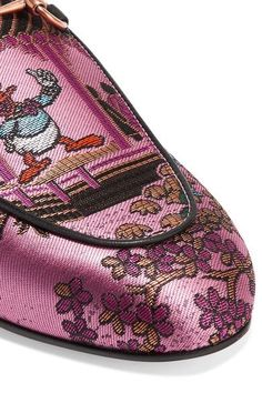Gucci - Princetown Horsebit-detailed Metallic Jacquard Slippers - Pink - IT35.5