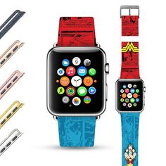 Wonder Woman Pattern Custom Apple Watch Band Leather Strap