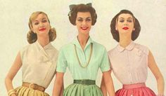 1950s blouses and shirts. Cross neck, open collar, and peter pan collar blouses
