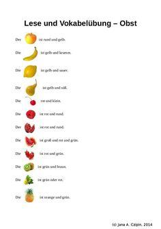 Obst - Leseuebung Wortschatzübung