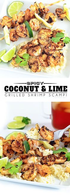 This simple and delicious grilled shrimp recipe blends coconut and lime while adding a touch of spice with Sriracha sauce to scrimp scampi. SPICY COCONUT & LIME GRILLED SHRIMP SCAMPI recipe at TidyMo(Whole 30 Recipes Shrimp) Grilling Recipes, Fish Recipes, Seafood Recipes, Dinner Recipes, Cooking Recipes, Healthy Recipes, Sauce Recipes, Healthy Meals, Healthy Food