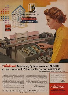 National Accounting System 50 s print ad color illustration the National Cash Register Company Retro Ads, Vintage Advertisements, Vintage Ads, Vintage Prints, Vintage Photos, Vintage Posters, Funny Commercials, Funny Ads, Retro Office