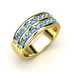 Men's New Arrival! The Double Crown Ring customized in topaz and gold.