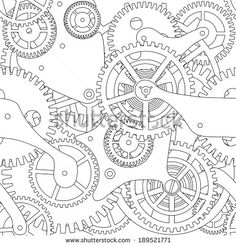 Gear Drawings | Clockwork Gears Drawing Seamless texture of gear and