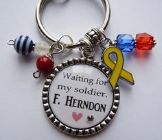 Personalized waiting for my soldier keychain military corps united states army navy marines beautiful quote yellow ribbon come home safe