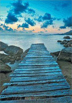 3D-Bild: Steg (Classic) | Landschaft, See, Meer, Wasser, Steg, Steine Landschaft