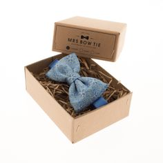 Gold Flowers on Pelorous Blue - Mrs Bow Tie