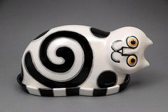 Black and White Kitty Butter Dish: Alison Palmer: Ceramic Butter Dish - Artful Home