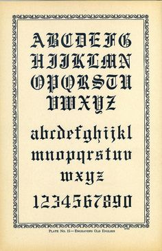 Engravers Old English type specimen