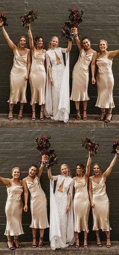cheap champagne bridesmaid dresses, tea length bridesmaid dresses, pretty long wedding party dresses for guest #dressywomen #bridesmaids #wedding #weddingdresses
