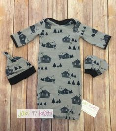 Baby boy gown, knot hat, and no scratch mittens, newborn set - gray with navy blue cabins This cute little gown is made with soft knit fabric. It comes with a matching knot hat and no scratch mitts. It would be a great gift for a new mom. All items are made in a smoke free, pet free,