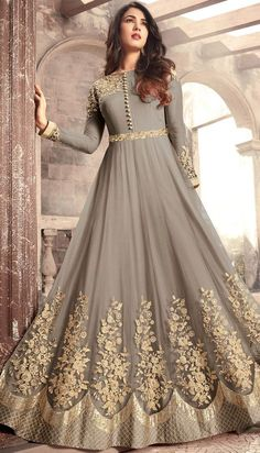 Gray Designer Embroidered Net Party Wear Anarkali Suit