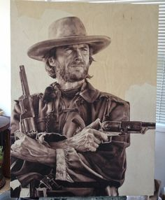 Clint Eastwood, Oil painting, Wood panel canvas. Painted by Amy Gaulin, her blog can be found here: http://www.amygaulin.blogspot.ca/  --- It's not really history related but it looks bad ass and I thought it would still fit in here.