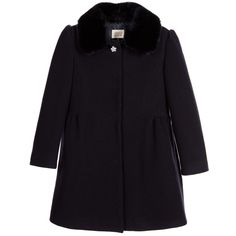 ARMANI JUNIOR Girls Navy Blue Coat with Synthetic Fur Collar